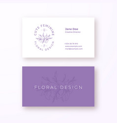 Abstract feminine flower sign or logo and vector