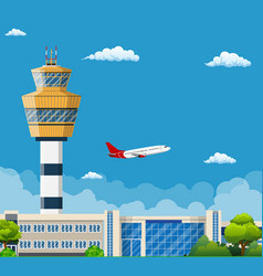 Airport terminal with control tower vector