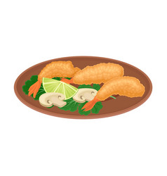Appetizing thai food deep fried shrimps and vector