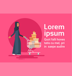 Arab woman with shopping cart sale arabic vector