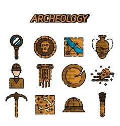 Archeology flat icon set vector