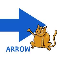 Arrow shape with cartoon cat vector