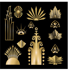 Art deco template golden-black diy elements set vector