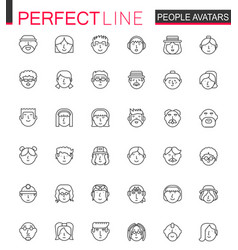 Avatar thin line web icons set people head vector