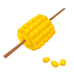 baked or boiled corn on wooden stick food vector image