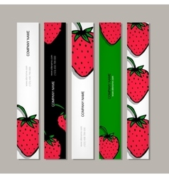 Banners template strawberry design vector