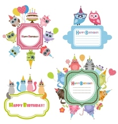 Birthday frames with owls and cats vector image
