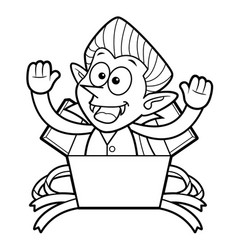 Black and white dracula mascot is in big box vector