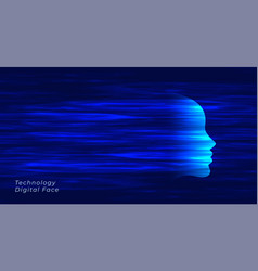 blue futuristic artificial intelligence face vector image