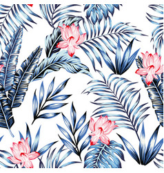 Blue tropical leaves pink flowers white background vector