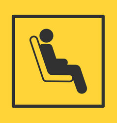 bus or train or plane seat yellow sticker in vector image