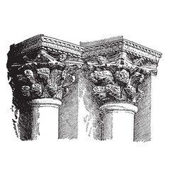Byzantine capital rises vintage engraving vector