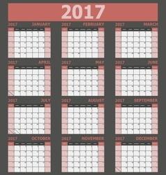 Calendar 2017 week starts on Sunday red tone vector image