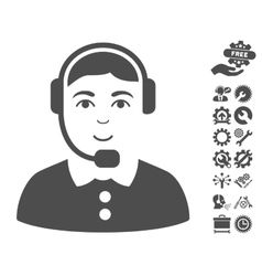 Call Center Operator Icon With Tools Bonus vector image