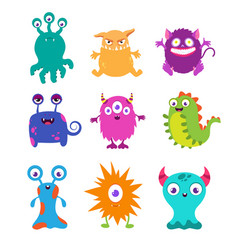 Cartoon funny monsters set for t-shirt vector