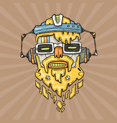 cartoon hipster robot head vector image