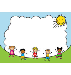cartoon kids jumping on background sky vector image