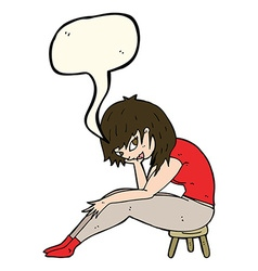 cartoon woman sitting on small stool with speech vector image
