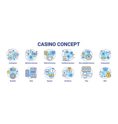 casino concept icons set online games chance vector image