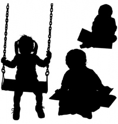child silhouettes vector image