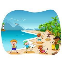 Children playing on the beach vector