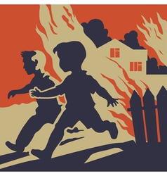 Children running away from fire flames vector image