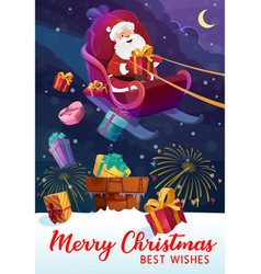 christmas and santa claus in sleigh gift boxes vector image