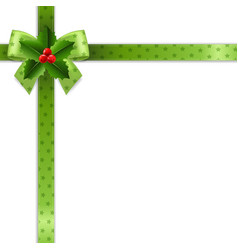 christmas ribbon with holly berry white background vector image