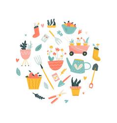 Circle of garden tools vector