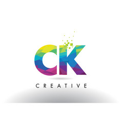 Ck c k colorful letter origami triangles design vector