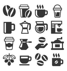 coffee icons set on white background vector image