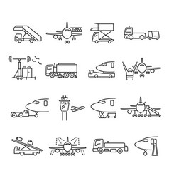 collection linear airport ground support icons vector image