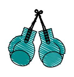 Color crayon stripe image set boxing gloves sport vector