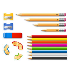 colored pencils with sharpeners and eraser vector image