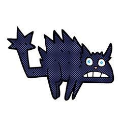 Comic cartoon frightened black cat vector