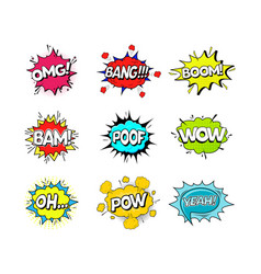Comic speach bubble effect set vector