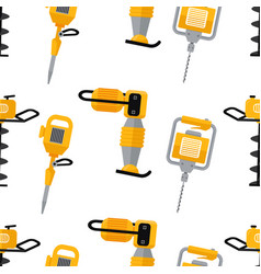 Construction equipment seamless pattern vector