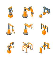 conveyor machines robotic hand icons set isometric vector image