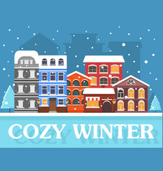 Cozy winter in city vector