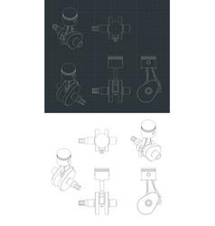Crank mechanism and piston drawings vector