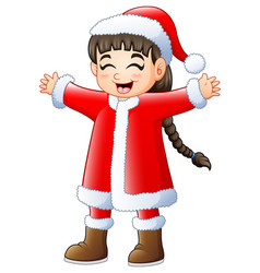 cute long hair girl wearing santa claus costume vector image