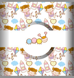Cute worm and baby girl with toys background vector