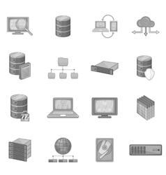 Data base icons set monochrome style vector