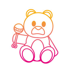 Degraded line bear teddy cute toy with rattle vector