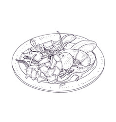 Delicious salad with seafood and vegetables vector