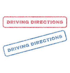Driving directions textile stamps vector