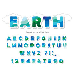 earth landscape modern font paper cut out abc vector image