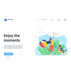 Enjoy moment landing page happy girl jumping vector