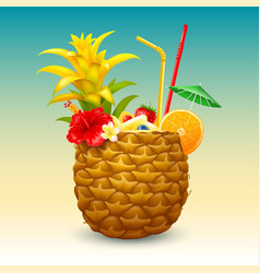 Exotic pineapple cocktail vector