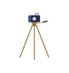 flat lens photo camera standing at tripod vector image vector image